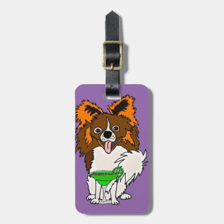 Funny Papillon Dog Drinking Margarita Cartoon Luggage Tag