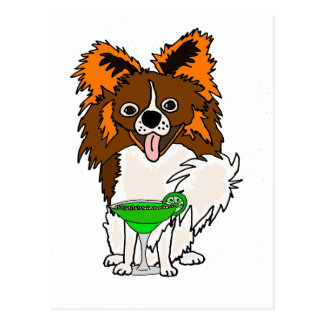 Funny Papillon Dog Drinking Margarita Cartoon Postcard