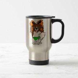 Funny Papillon Dog Drinking Margarita Cartoon Travel Mug