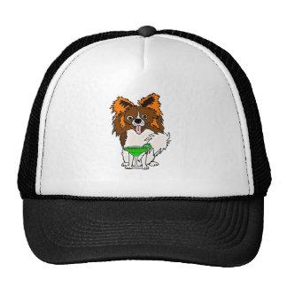 Funny Papillon Dog Drinking Margarita Cartoon Trucker Hat