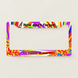 Funny Parked  Tropical Flowers License Plate Frame