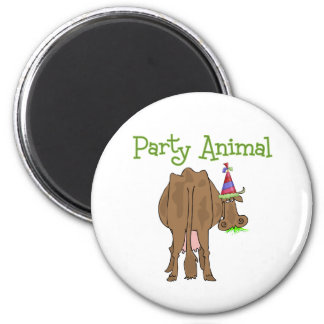 Funny  Party Animal Birthday Cow 2 Inch Round Magnet