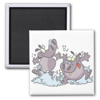 funny party animal hippos in suds cartoon fridge magnet