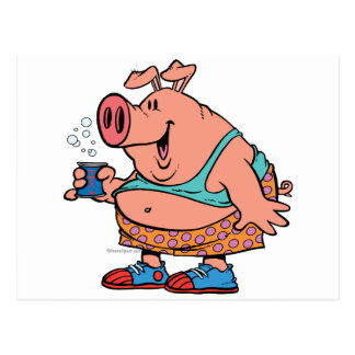 funny party animal pig hog cartoon postcard