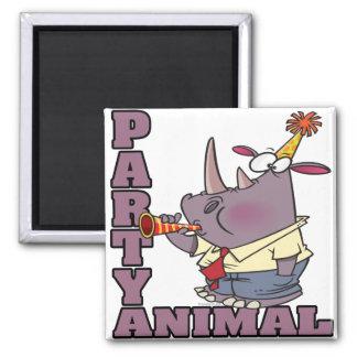 funny party animal rhino cartoon magnet
