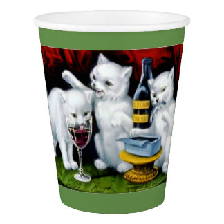 Funny Party cats wine sardines food drink cup