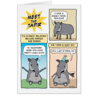 Funny Party Like a Tapir Birthday Card