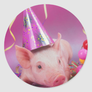 Funny Party Pig Round Sticker