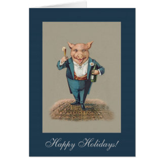 Funny Partying Pig - Vintage New Year/Christmas Card