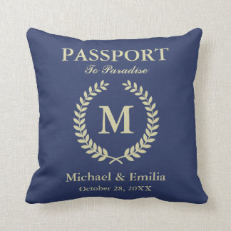 Funny Passport Look Laurel Wreath Monogram Name Throw Pillow