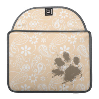 Funny Paw Print on Bisque Color Paisley; Floral Sleeve For MacBook Pro