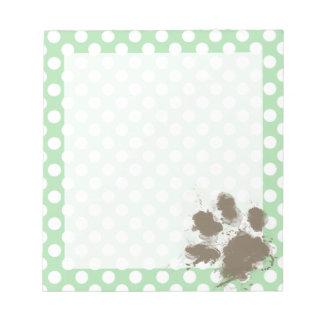 Funny Paw Print on Celadon Green Polka Dots Notepad