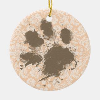 Funny Paw Print on Light Apricot, Peach Damask Ceramic Ornament