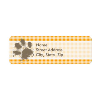 Funny Pawprint Amber Orange Gingham Return Address Label