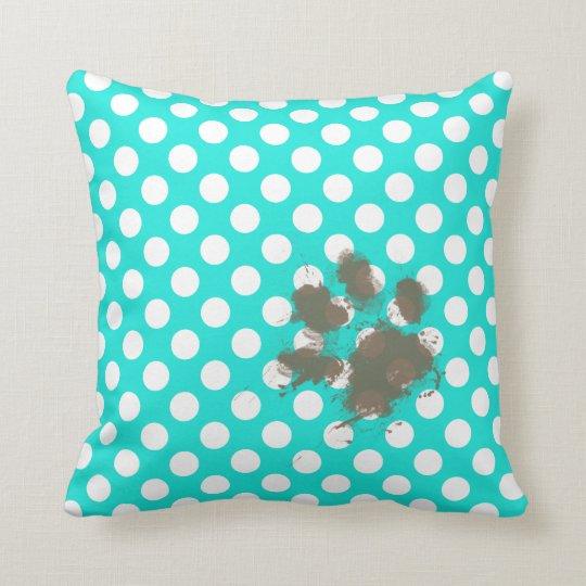 Funny Pawprint; Aqua Colour Polka Dots Throw Pillow