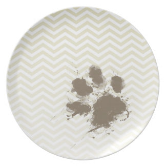 Funny Pawprint on Beige Chevron; zig zag Party Plates