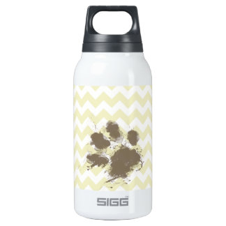 Funny Pawprint on Cream Chevron Insulated Water Bottle