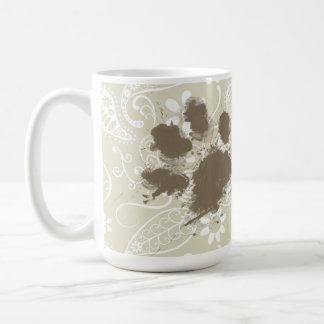 Funny Pawprint on Ecru Paisley Coffee Mug