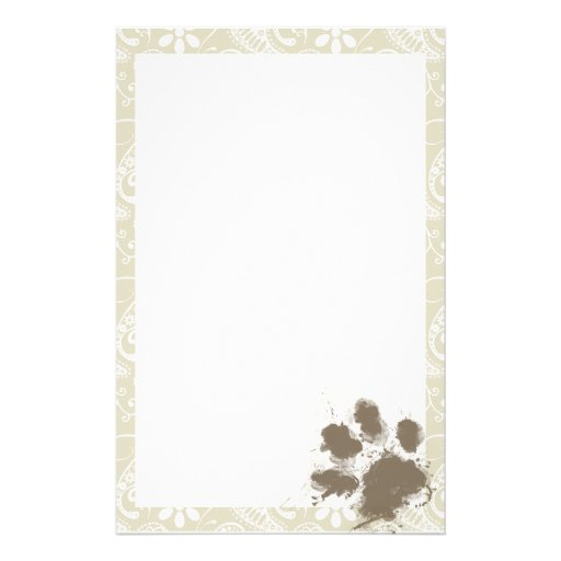 Funny Pawprint on Ecru Paisley Personalized Stationery
