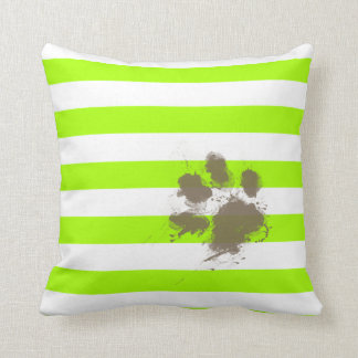 Funny Pawprint on Electric Lime Green Stripes Throw Pillow