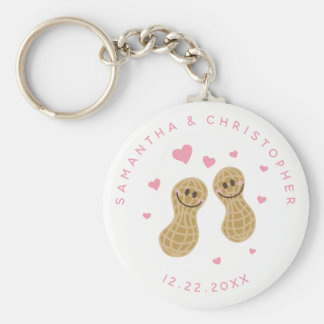Funny Peanuts Cute Whimsical Pink Wedding Favor Keychain