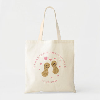 Funny Peanuts Cute Whimsical Pink Wedding Favor Tote Bag