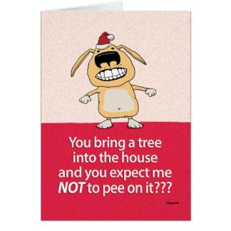 Funny Pee on Tree Dog Christmas Card