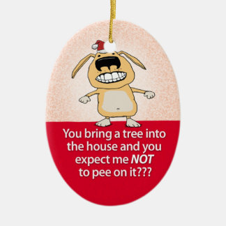 Funny Peeing Dog Christmas Ornament