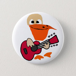 Funny Pelican Playing Guitar Art 2 Inch Round Button
