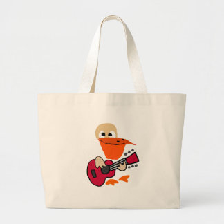 Funny Pelican Playing Guitar Art Large Tote Bag