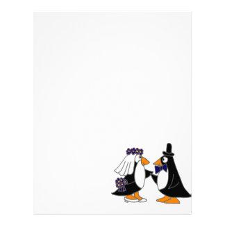 Funny Penguin Bride and Groom Wedding Cartoon Letterhead Design