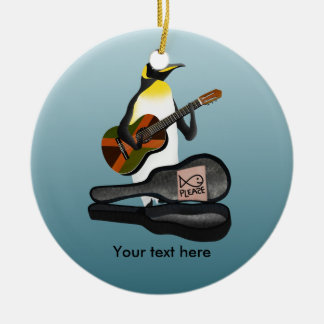 Funny Penguin Busking Ceramic Ornament