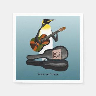 Funny Penguin Busking Paper Napkins