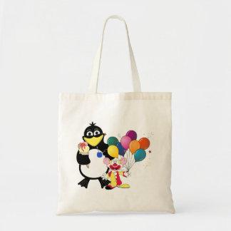 Funny penguin clown cartoon tote bags