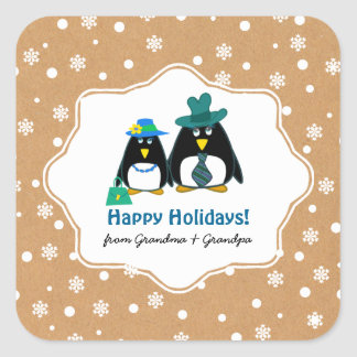 Funny Penguin Couple Custom Christmas Stickers