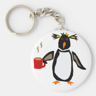 Funny Penguin Drinking Coffee Basic Round Button Keychain