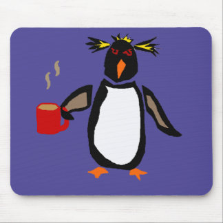 Funny Penguin Drinking Coffee Mouse Pad