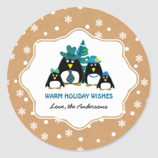 Funny Penguin Family Custom Christmas Stickers