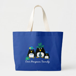 Funny Penguin Family of 3 Christmas Gift Tote Bags