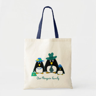 Funny Penguin Family of 3 Gift Tote Bags