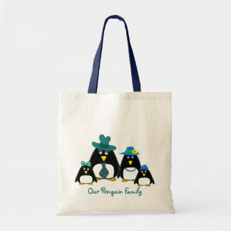 Funny Penguin Family of 4 Christmas Gift Tote Bags