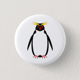 Funny penguin rockhopper or macaroni 1 inch round button