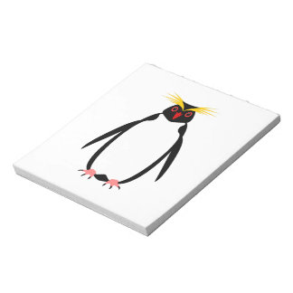 Funny penguin rockhopper or macaroni notepad