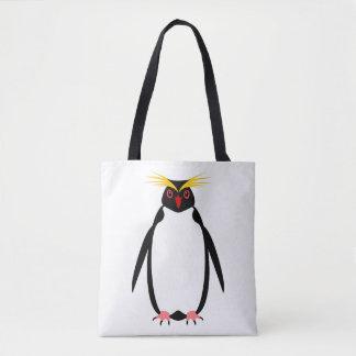 Funny penguin rockhopper or macaroni tote bag