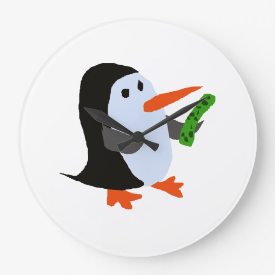 Funny Penguin with a Pickle Shirt Large Clock