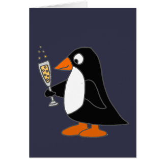 Funny Penguin with Champagne Card