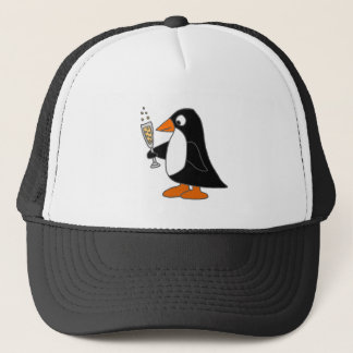 Funny Penguin with Champagne Trucker Hat