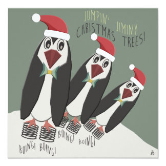 Funny Penguins Christmas Cookie Exchange Card