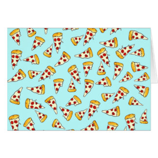 Funny pepperoni pizza pattern sketch on teal card