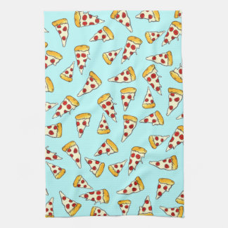 Funny pepperoni pizza pattern sketch on teal kitchen towel
